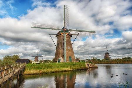 Historic windmill at Kinderdijk. The Netherlands Stock Photo