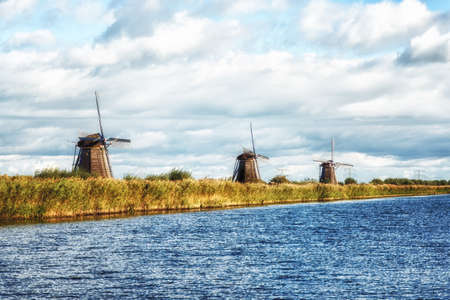 typically dutch: The famous windmills at the Kinderdijk, south Holland, Netherlands