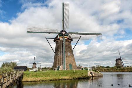 watermanagement: Historic windmill at Kinderdijk. The Netherlands Stock Photo