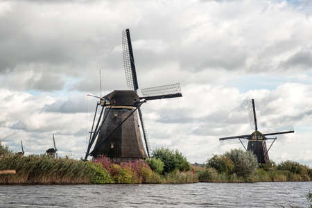 the hague: The dutch windmills at Kinderdijk.