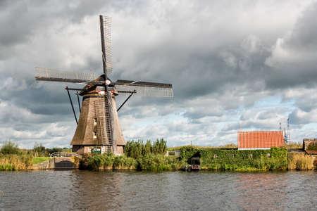 water mill: Ancient windmills near Kinderdijk, Netherlands