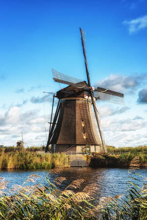 watermill: Traditional dutch windmill near the canal. Netherlands