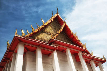 moulding: Royal buddha temple in Bangkok, Thailand - Wat Kalayanamit Woramahawiharn. Famous Asian ancient architecture landmark and travel destination