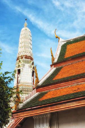 Rooftops Wat Arun, Buddhist temple. Thonburi. Bangkok, Thailand