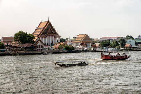 Bangkok, Thailand- Dec 01th: View of Chao Phraya River and Southern Bangkok, Thailand Stock Photo