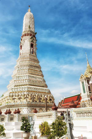 Beautiful Prang (spire) at Arun Ratchawararam temple in Bangkok, Thailand