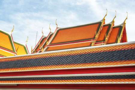 literally: Chofah, literally sky tassel, typical architectural ornamentation on the roofs of Buddhist buildings, Wat Pho, Bangkok Stock Photo