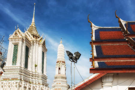 The exterior view of a temple of dawn in Bangkok, Thailand. Stock Photo