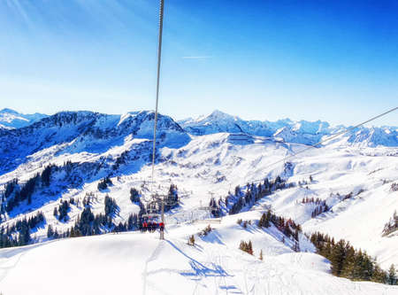 Winter wonder land in Austria as seen from chairlift Stock Photo