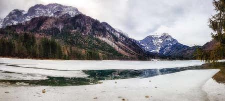 Frozen lake Offensee in Austria