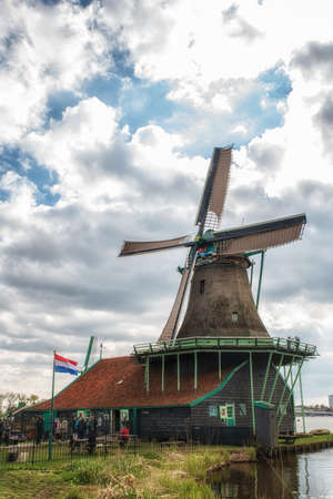 zaandam: De Kat is the only remaining working windmill in the world which makes paint. The mill is in the Zaanse Schans, Zaanstad.