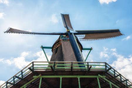 Paint Mill De Kat in Zaanse Schans,Traditional Dutch old wooden windmill in Zaanse Schans - museum village in Zaandam. The Netherlands. Stock Photo