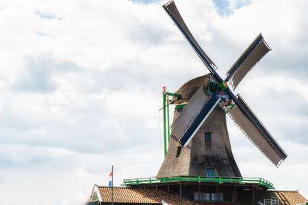 Windmill in Zaanse Schans, traditional village, Netherlands, North Holland Stock Photo