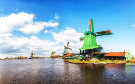 Windmills at the Zaanse Schans in North Holland, The Netherlands