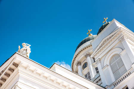 lutheran: Detail of Helsinki Cathedral,one of the most popular tourist sights in Finland Stock Photo