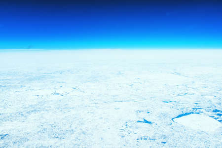 High Altitude photo of ice sheets floating in the Atlantic Sea