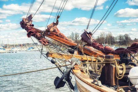 Bowsprit of a Wooden Sailing ship at the harbour of Helsinki, Finland