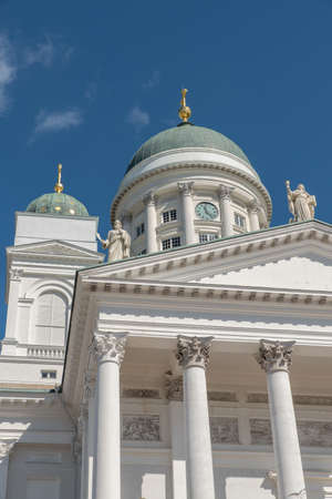The Cathedral, by Carl Ludvig Engel, rising on the northern side of the Senate Square is the stage of national and academic festive services and one of the most popular tourist sights Stok Fotoğraf