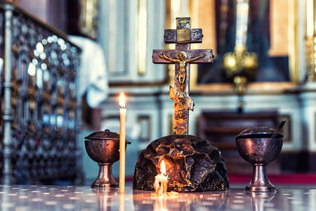 Candles and cross in Uspenski Orthodox Cathedral