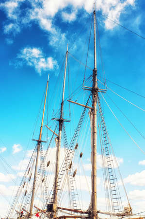 roped: Historical sailing ship at port of helsinki finland
