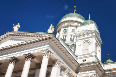 The Cathedral, by Carl Ludvig Engel, rising on the northern side of the Senate Square is the stage of national and academic festive services and one of the most popular tourist sights Stock Photo
