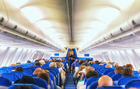 A View Inside A Commercial Airliner Stock Photo