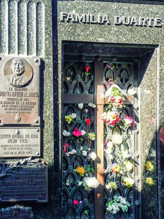 Evita Peron mausoleum at the Recoletas Cemetery in Buenos Aires
