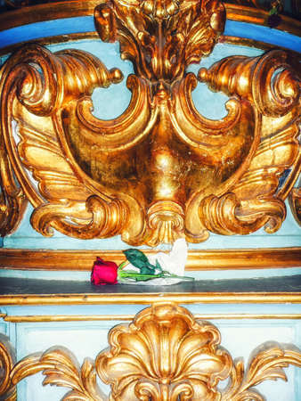 A Rose on the Altar at Basilica de Nuestra, Buenos Aires, Argentina Stock Photo