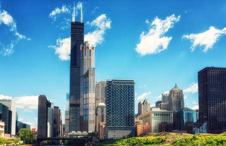 シカゴ川の南支流からの眺め 写真素材
