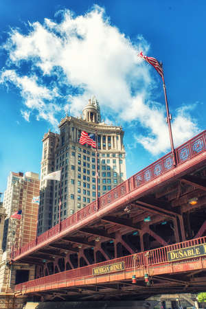The famous Michigan avenue bridge as seen from the water Stock Photo