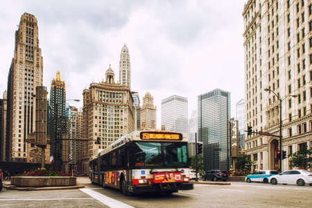 Chicago, United States - June 17, 2017: Bus drives downtown in Chicago. Chicago is the 3rd most populous US city with 2.7 million residents (8.7 million in its urban area). Editorial
