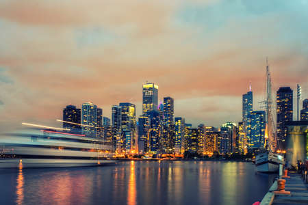 lake district: Chicago skyline panorama at night viewed from the Navy Pier Stock Photo
