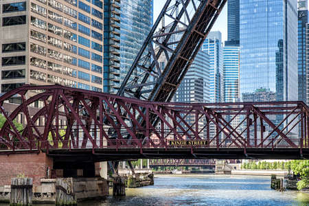 Kinzie Street Railroad Bridge along Chicago River in Chicago, Illinois, USA