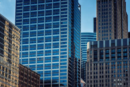 Detail of Modern Skyscrapers in Chicago, Illinois, USA Editorial