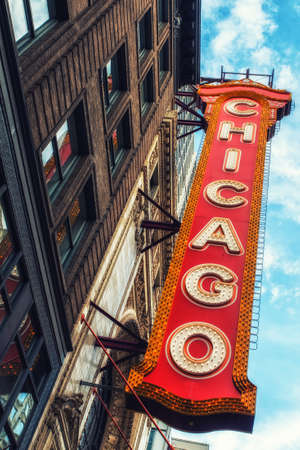 Chicago, Illinois, USA - June 18, 2017: With its large electric sign, the Chicago Theatre, opened in 1921, is an iconic State Street landmark in downtown Chicago.
