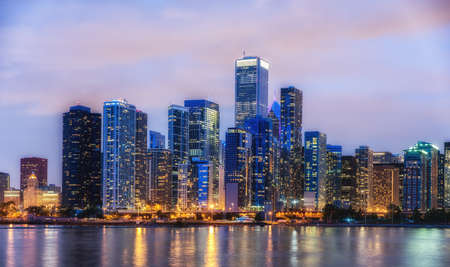 Chicago skyline panorama at night viewed from the Navy Pier Stock Photo