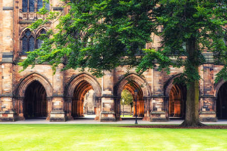 The East Quadrangle in Summer at the University of Glasgow Campus in Glasgow, Scotland, UK