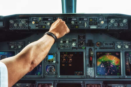 Operating autopilot console on a commercial aircraft.