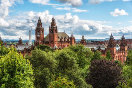 Towers of Kelvingrove Gallery and Museum in Glasgow Scotland along the Kelvin River. Stok Fotoğraf - 88642531