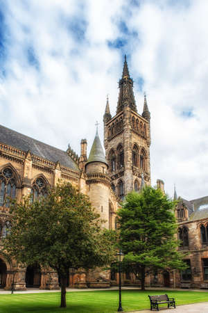 Glasgow Universitys towers - a Glasgow landmark built in the 1870s in the Gothic revival style. Designed by Sir George Gilbert Scott. Editorial