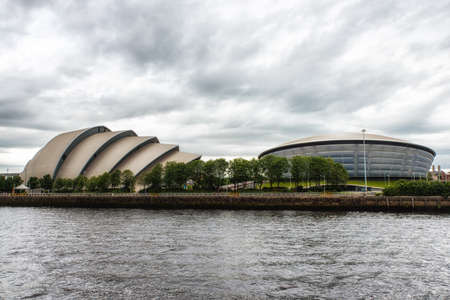 Glasgow, Scotland, UK - July 07, 2017: The SEC Armadillo and SSE Hydro Arena make up two parts of the Scottish Event Campus (SEC) on the banks of the River Clyde. Фото со стока - 88661298