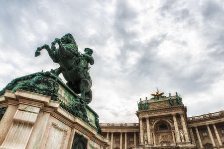 Vienna, Austria - July 09, 2017: Monument to prince Eugene at the Heldenplatz within the Hofburg palace . Prince Eugene of Savoy (1663 � 1736), field marshal and statesman of the Carignan line of the House of Savoy. The bronze monument designed by Anton D