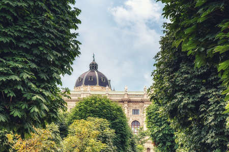 View through the trees of the Dome of the Kunsthistorisches Museum, 1891, Vienna, Austria