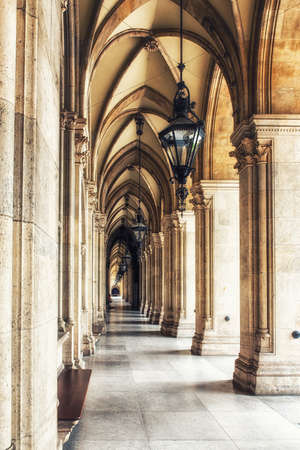 Colonnade in Vienna City Hall building. Austria
