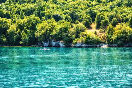 Tourist kayak on the Ohrid Lake, Republic of Macedonia, Balkans