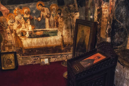 Ohrid,Macedonia,July 24th 2017:   Paintings and frescoes inside St. Naum church on lake Ohrid,Macedonia