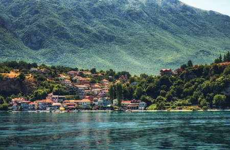 View of typical small village at lake Ohrid in Macedonia