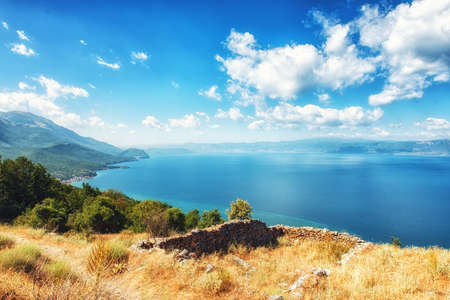 View of lake Ohrid from national park Galicica, Macedonia