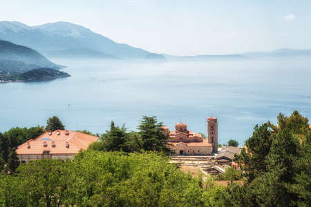 Holy historic church Saint Panteleimon founded by Clement on the coast of lake Ohrid in town Ohrid Macedonia