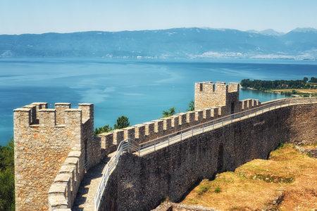 Castle walls, Samuils Fortress, Unesco World Heritage Site, on Lake Ohrid, Ohrid, Macedonia